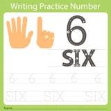 Pratique en matière numéro six d'écriture de fiche de travail Image libre de droits