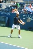 Pratiques en matière de Carlos Moya de joueur de tennis professionnel pour l'US Open Image libre de droits