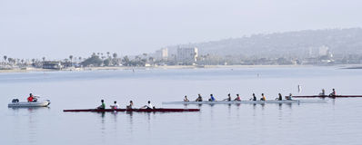 Pratiques en matière de club d'aviron, baie de mission, San Diego Image libre de droits