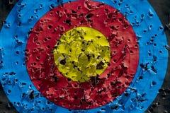 Pratiquez la cible utilis?e pour tirer avec des trous de balle dans lui, modifi? la tonalit? photographie stock libre de droits