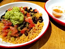 Prato étnico mexicano do arroz com carne de porco puxada Foto de Stock Royalty Free