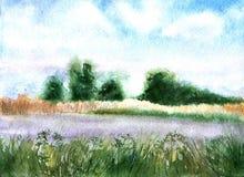 Prato, alberi e cielo - paesaggio Pittura dell'acquerello manifesto Fotografia Stock