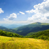 Prato in alte montagne ad alba Fotografia Stock Libera da Diritti