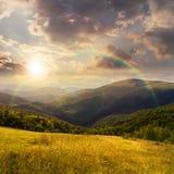 Prato in alte montagne al tramonto Fotografia Stock Libera da Diritti