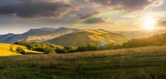 Prato in alte montagne al tramonto Fotografia Stock