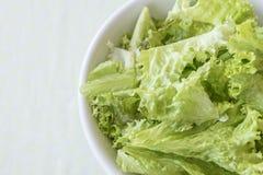 Prato branco com as folhas verdes da alface fresca fotos de stock