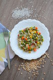 Prato com arroz e vegetais Fotos de Stock