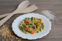 Prato com arroz e vegetais Imagens de Stock Royalty Free