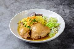 Prato com canja de galinha, os macarronetes e os vegetais caseiros frescos foto de stock royalty free