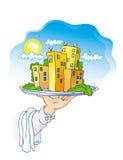 Prato com casas Imagem de Stock Royalty Free