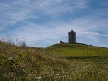 Prato con la torre da un castello in Irlanda fotografia stock