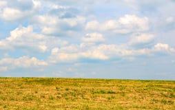 Prato con le nubi bianche su cielo blu Immagine Stock Libera da Diritti