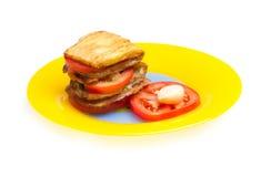 Prato da beringela, dos tomates e do alho. Imagem de Stock