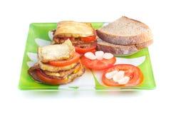 Prato da beringela, dos tomates e do alho. Fotografia de Stock