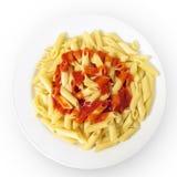Prato da massa com molho de tomate Foto de Stock