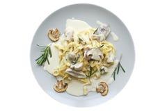 Prato da massa do vegetariano dos tagliatelle com cogumelos Fotos de Stock Royalty Free