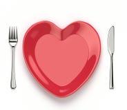 Prato dado forma coração ilustração stock