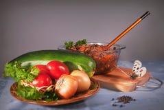 Prato das determinadas espécies de abóbora vegetais Imagens de Stock