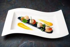 Prato das vieiras Restaurante italiano menu foto de stock royalty free