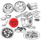 Prato de Dim Sum do chinês no estilo da tinta Fotografia de Stock Royalty Free