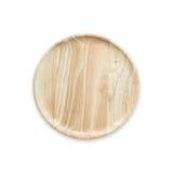 Prato de madeira vazio brilhante da vista superior isolado no branco Salvar com fotos de stock