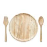 Prato de madeira vazio brilhante da vista superior isolado no branco Salvar com foto de stock royalty free
