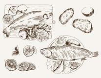 Prato de peixes ilustração stock