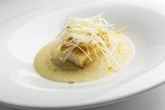 Prato de peixes, bacalhau roasted com o aipo de Verona triturado Fotografia de Stock