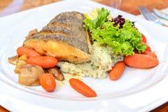 Prato de peixes delicioso do alabote fotos de stock royalty free