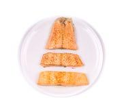 Prato de peixes - faixa de peixes fritada Fotografia de Stock Royalty Free