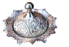 Prato de prata da bacia imagens de stock