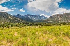 Prato del Wyoming che conduce ad una grande valle con cielo blu e le nuvole bianche Fotografia Stock Libera da Diritti