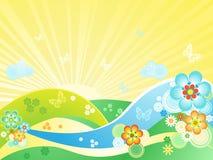 Prato di fioritura di estate illustrazione vettoriale