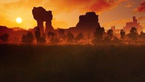 Prato di tramonto con le rovine antiche ed il castello illustrazione di stock