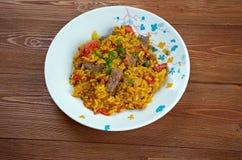 Prato do arroz de Biryani do indiano do leste com carne Foto de Stock Royalty Free