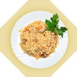 Prato do arroz fritado com carne (pilau) Fotografia de Stock
