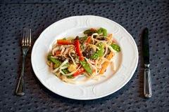 Prato do macarronete do frigideira chinesa Fotografia de Stock