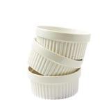 Prato do ramekin do souffle da porcelana isolado Fotografia de Stock Royalty Free