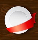 Prato do vetor com fita vermelha Imagem de Stock