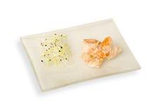 Prato dos peixes e do vegetal Fotografia de Stock