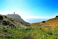 Prato edulis del Carpobrotus che circonda il faro di Cabo da Roca nel Portogallo immagini stock libere da diritti