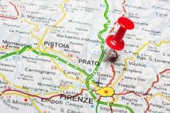 Prato fijó en un mapa de Italia Fotografía de archivo libre de regalías