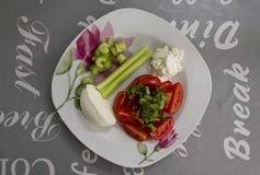 Prato fresco com uma salada dos tomates, da mussarela, do aipo e da manjericão Fotografia de Stock Royalty Free