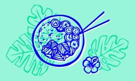 Prato havaiano da bacia do pux?o com arroz, peixe fresco ilustração do vetor