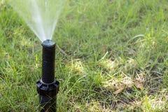 Prato inglese d'innaffiatura dello spruzzatore dell'impianto di irrigazione del giardino Immagini Stock