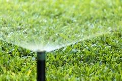 Prato inglese d'innaffiatura dello spruzzo dell'impianto di irrigazione del giardino Immagini Stock