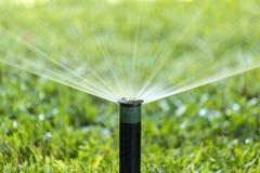 Prato inglese d'innaffiatura dello spruzzo dell'impianto di irrigazione del giardino Fotografia Stock Libera da Diritti