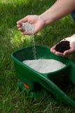 Prato inglese di fertilizzazione Fotografie Stock