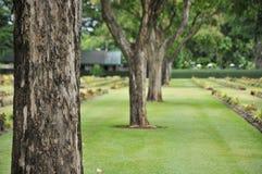 Prato inglese in un cimitero con le lapidi Fotografie Stock