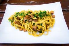 Prato italiano: tagliatelle com cogumelos do porcini foto de stock royalty free
